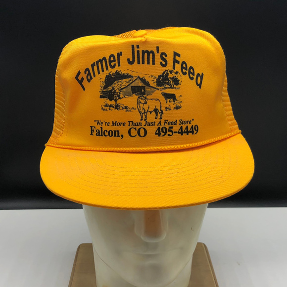 8a484499 mohrs Accessories | Farmer Jims Feed Snapback Trucker Hat Cap Yellow ...